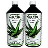 Aloe Vera IASC Barbadensis miller Trink Gel 2 Liter Sparpack von QueenRoyal | 99.55% Blatt-Gel pur. OHNE Geschmacksstoffe! OHNE Verdickungsmittel | #30036W