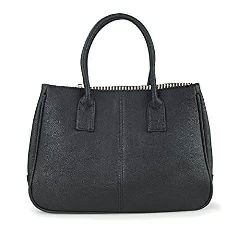Hoxis Classical Office Lady Minimalist Pebbled Faux Leather Handbag Tote/ Magnetic Snap Purse(Black)