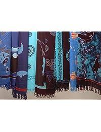 Paréo HANDPAINTING,, différents motifs: paréo/sarong/foulard/pagne/jupe/serviette de plage - Tons bleus (assorti - pas de présélection)