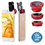 #7: Raptas Red Universal 3-In-1 Clip-On Fisheye + Wide Angle + Macro Lens for Xiaomi Mi, Apple, Samsung, Sony, Lenovo, Oppo, Vivo Smartphones