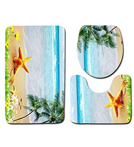L&KW 3 Teiliger WC Sitzbezug Und Teppich-Set Für Badezimmer Contour Mat + Deckel Toilettendeckel + Badematte Colorful Butterflies on The Stone,D,80 * 50