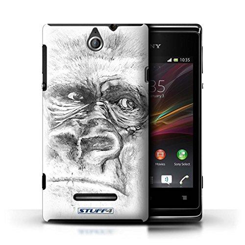 Kobalt® Imprimé Etui / Coque pour Sony Xperia E / Lion conception / Série Dessin Croquis Gorille / Singe