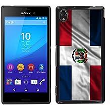 FJCases República Dominicana Dominico Bandera Ondeante Carcasa Funda Rigida para Sony Xperia M4 Aqua