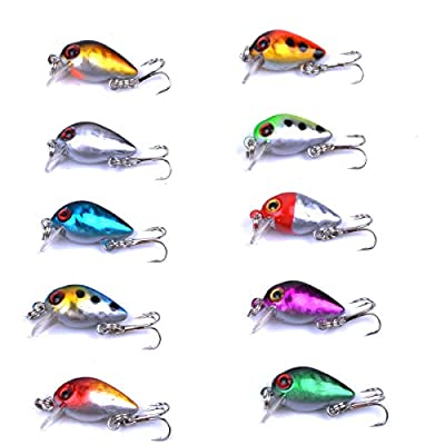 Aorace 10pcs/lot Mini Fishing Lures 10 Colors Fishing Bait 2.6cm/1.6g Fishing Tackle #10 High Carbon Steel Treble Hook from aorace
