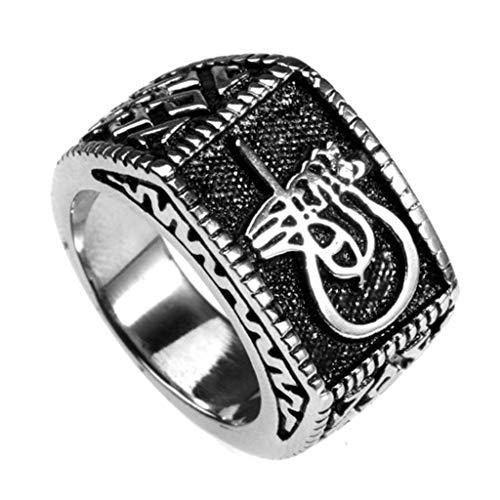 Aeici Herrenringe Edelstahl Quadrat Edelstahlring Breit Ringe Silber Größe 70 (22.3) -