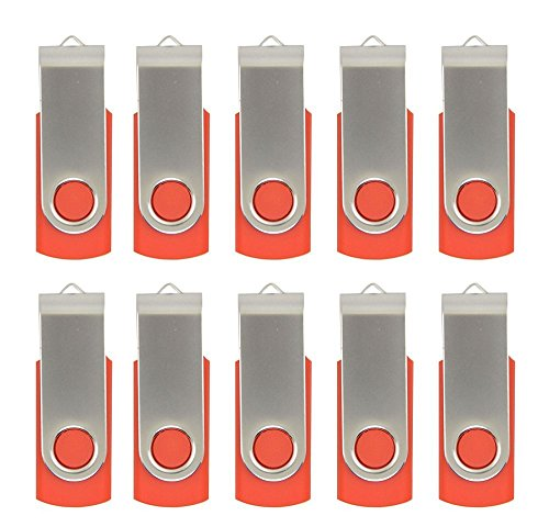 10pcs 4GB USB 2.0 Flash Drive Memory Stick Fold Storage Thumb Stick Pen Swivel Design (Red)