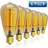 Vintage Glühbirne x 6, LOFTer E26 / E27 60W Edison Glühbirne, Warmweiß Dimmbar Retro Glühbirne für Haushalt, dekorative Beleuchtung