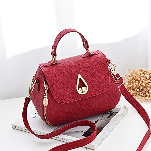 CengBao piccoli pacchetti femmina di nuova tendenza di le donne coreane il pacchetto a un algebra lineare tote bag, piccolo pacchetto, nero Vino rosso