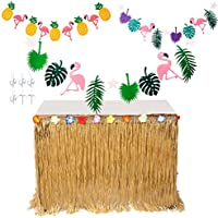 MIMIEYES Hawaiian Luau Table Skirt with Tropical Flowers and Banners for Garden Beach Summer Tiki BBQ Party Decorations