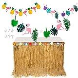 MIMIEYES Hawaiian Luau Table Skirt with Tropical Flowers and Banners for Garden Beach