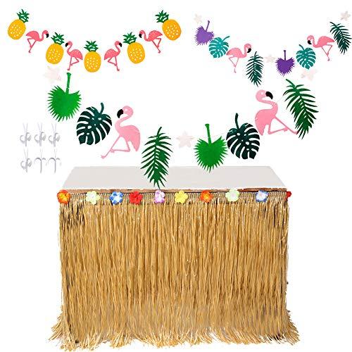 MIMIEYES Hawaii Luau Tischröcke mit Tropischen Blumen und Banner für Garten Strand Sommer Tiki BBQ Party Dekorationen (Gelb)