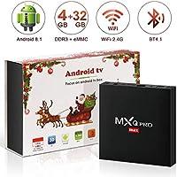 Android 8.1 TV Box, Superpow Smart TV Box Quad Core 4GB RAM+32GB ROM, BT 4.1, 4K*2K UHD H.265, HDMI, USB*2, WiFi Media Player, Android Set-Top Box