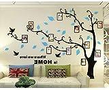 Asvert Vinilos Árbol con Hojas Azul Pegatina de Pared 1.75 * 2.3 m con 11 Marcos de Fotos Murales de 12.7 * 17.8 cm Decoración Hogar 3D para Sala de Estar Corredor Escalera Dormitorio