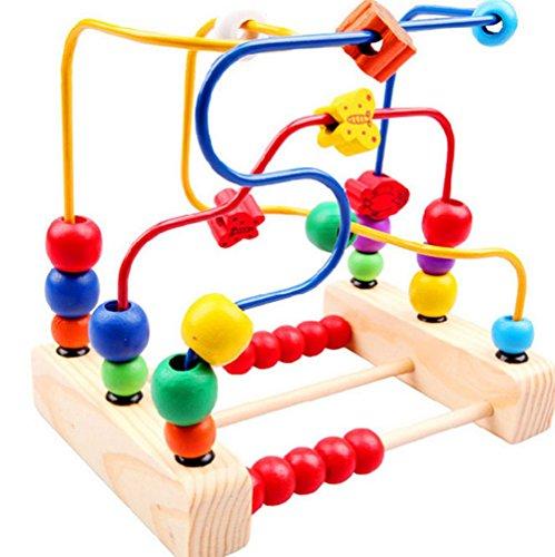 JUNGEN Juguetes de Madera Laberinto de Cuentas Juego de Montaña Rusa para cabritos sobre 3 años de los juguetes educativos 19 * 14.5 * 19
