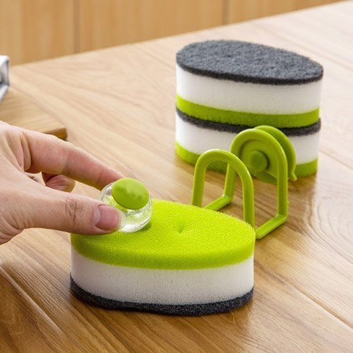 CPEX Pack of 3 Triple Layer Soapy-Sponge Self Release Dish Wash Liquid Scouring Sponge with Soap-Dispensing Capsule