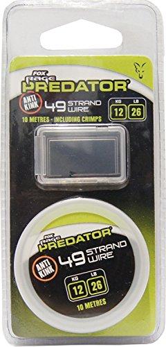 Fox Rage Predator 49 Strand Steel Wire Stahlvorfach, Vofachmaterial für Hecht, Stahldraht, 49- Litzen Draht, Tragkraft:12 kg