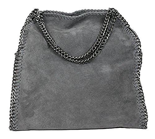Limited-Colors Handtasche VIVIEN Lederlook Damen Schwarz Grau Rosa Jeans Shopper Beuteltasche mit...