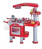 Eddy Toys 53595 - Kinderküche mit viel Zubehör, 69 Stück, rot