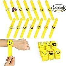 14 paquetes Emoji hule pulseras ,Pulsera de Goma Artículos de Fiesta , Juguetes de Novedad Para Escuela Recompensas de Clase