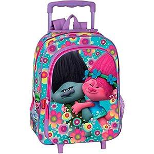 51LfPCTSmeL. SS300  - Trolls Cooper - Mochila infantil con carro Poppy y Ramón,  37x29x11 cm