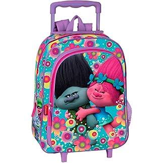 Trolls Cooper – Mochila infantil con carro Poppy y Ramón,  37x29x11 cm