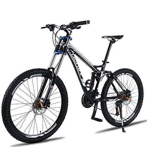 FJW Bicicleta de montaña Unisex, 26 Pulgadas Marco de aleación de Aluminio, Velocidad 24/27 Bicicleta MTB de Doble suspensión con Doble Freno de Disco,Black,24Speed