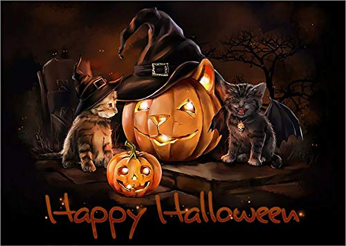 Halloween Diamond Painting, Kat Kürbis 5D DIY Diamant Malerei Stickerei Full Drill Crystal Strass Bilder Kreuzstich Handwerk für Home Wall Decor Kreuzstich Kit, 30x40cm (Halloween Kit Kats)