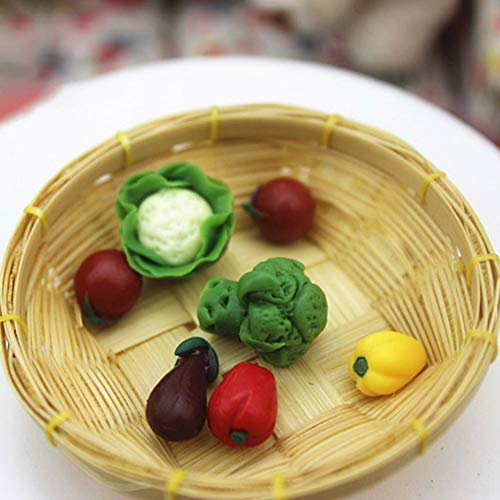 0Miaxudh Mini Gemüse, 7 Stücke Nette Mini Küche Gemüse Harz Handwerk Kinder Puppenhaus Miniatur Dekor Set