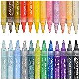Acryl-Marker/-Stifte von Sayeec, Set aus 12Permanent-Markern in verschiedenen Farben für Glasmalerei, Keramik, Porzellan, Stein, Holz, Stoff, Leinwand, beste Wahl für individuell gestaltete Tassen, Steine und zum Basteln m 24 Pack