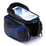INTENOVA Fahrradtasche, Rahmentasche, Oberrohrtasche für Handy 5,8-6,2 Zoll, Wasserdicht Sensitive Touch-Screen Radtasche, Schwarz und Blau