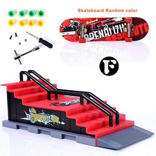 Sipobuy DIY Montage Mini Finger Skateboard Deck LKW Skate Park Bord Mit Rampe Zubehör Sets (Szene F)