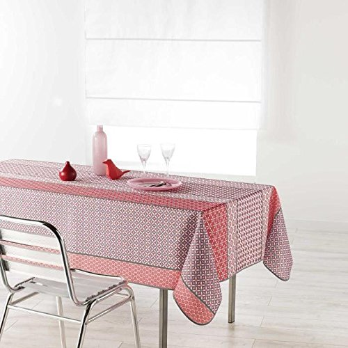 Nappe de table 150x240cm DAMARA ROSE antitache