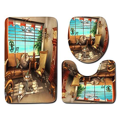 WWDDVH WC Dreiteilige Badezimmer-Matte Set Zu Hause Badezimmer-Matte Ysl0003 50Cmx80Cm