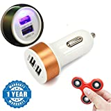 #7: Captcha Apple iPhone 6 Compatible Certified Dual Usb Car Charger Compact & Fidget Hand Metal Spinner (1 Year Warranty)