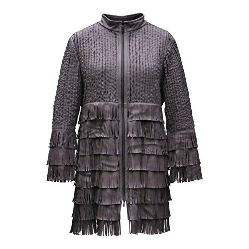 Lederjacke - MADONNA Damen Jacke mit Fransen Lammnappa Leder Size S, Color Camel Damen Leder Fransen Jacke
