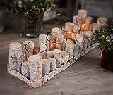 CHICCIE Holz AST Teelichthalter - 4er Rechteck 41x14cm Vintage Tischdeko Kerzenhalter Landhausstil Natur Deko 4er Rechteck