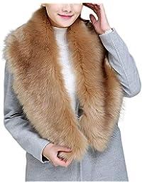 bc2254e7795a Bold Manner Echarpe Fourrure Femme Tour de Cou Col Amovible Foulard Renard  pour Manteau Hiver