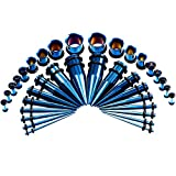 ANLW Orecchie Cono E Tunnel Set Gauges Kit Taper 36 Pezzi Orecchie Inox Dilatatori Blu Scuro