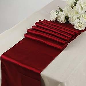 EDS 20Stück-12x 274cm Satin Tischläufer für Hochzeit Bankett Dekoration (30X275cm), mit mehr als 30Farben aubergine