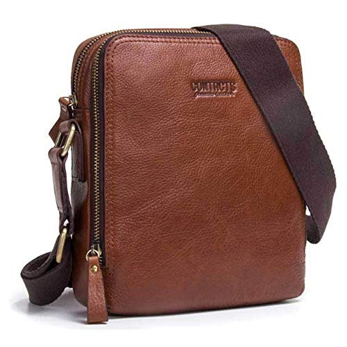Cortical Männer Umhängetasche Leder Casual Umhängetasche Top Layer Leder Herren Tasche Gentleman (Color : Brown, Size : M) Medium Brown -