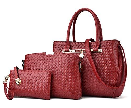 Tibes sac à main de mode Femmes cuir PU sacs Set de 3P sac tissé Sac bandoulière de luxe Sac de filles B Vin rouge