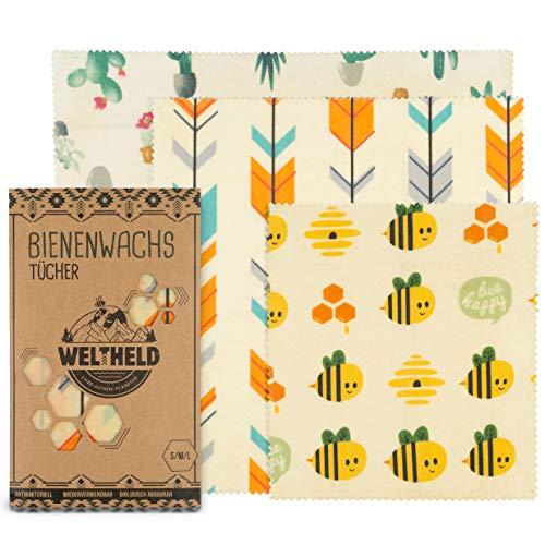 Weltheld Bienenwachstücher | Bienenwachstuch Bienen | Beewax Wrap | Bio Wachspapier | plastikfrei | Ersatz für Frischhaltefolie