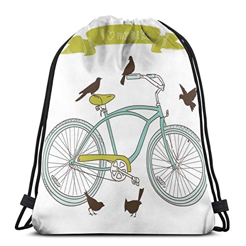 Drawstring Sack Backpacks Bags,I Love My Bike Concept with Birds On The Seat Cruisers Basic Vehicle Simplistic Art,Adjustable.,5 Liter Capacity,Adjustable.