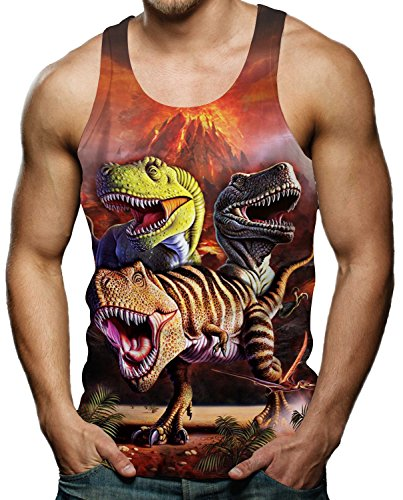 0a8d3c6b2a469 RAISEVERN Mens Vest Top for Summer Casual Cool Tyrannosaurus Rex 3D Digtal  Print Sleeveless T Shirt