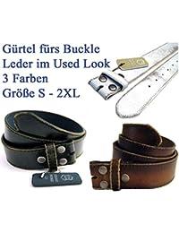 Buckle-Gürtel, Used Look, Echtleder, drei Farben, S-2XL