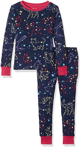 Hatley Mädchen Long Sleeve Printed Pyjama-Sets, Blue (Celestial Night), 3 Jahre