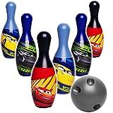 alles-meine GmbH XL - 7 TLG. Set - großes Kegelspiel / Bowlingspiel -  Disney Cars / Lightning McQueen - Auto  - 19 cm Kegel - aus Kunststoff / Plastik - für Außen + Innen -..