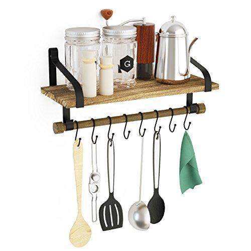SRIWATANA Küchenregal Küchenablage und Pfannenhalter, Herdablage - Rustikale Küche Organizer mit Holzbrett und 8 abnehmbaren Haken zum Organisieren von Kochutensilien, Multi-Einsatz als Gewürzregal
