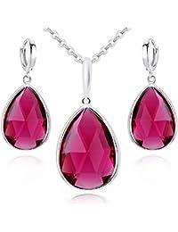 18 K blanco de GP con Zafiros azules y rosa Ruby juego de cristales de Swarovski collar con colgante en forma Juego de pendientes de lágrimas