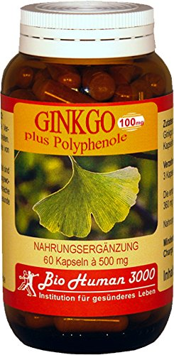 BioHuman3000 - Ginkgo 100 mg plus Polyphenole - 60 Kapseln
